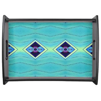 Modern Chic Pastel Teal Blue Mint Diamond Pattern Serving Tray