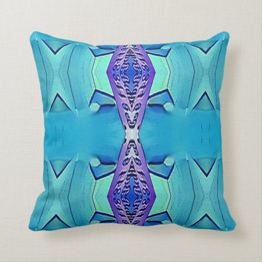 Modern Chic Pastel Teal Lavender Blue Pattern Throw Pillow