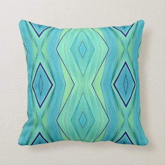 Modern Chic Pastel Teal Mint Blue Pattern Throw Pillow