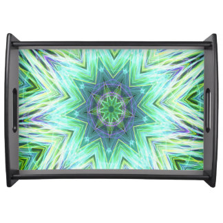 Modern Chic Pastel Teal Yellow Green Star Pattern Serving Tray
