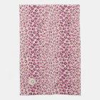 Modern chic pink cheetah print pattern monogram kitchen towel