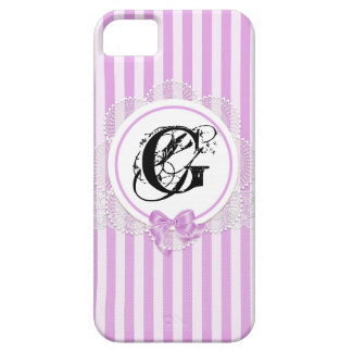 Modern Chic Pink Stripes Lace Monogram Cell Cases