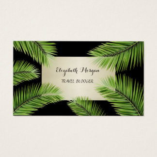 Modern Chic Professional ,Black,Palm Leaves Business Card