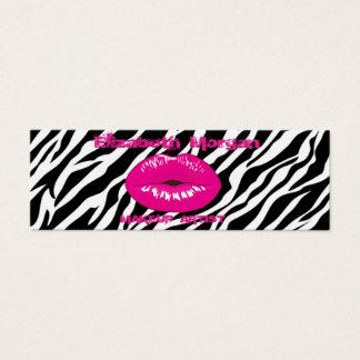 Modern Chic Proffesional ,Lips ,Zebra Print Mini Business Card