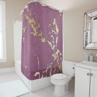 Modern Chic Purple and Gold Marble