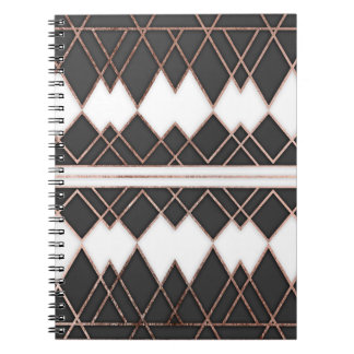 Modern Chic Rose Gold Black and White Triangles Spiral Notebook
