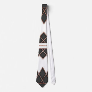 Modern Chic Rose Gold Black and White Triangles Tie