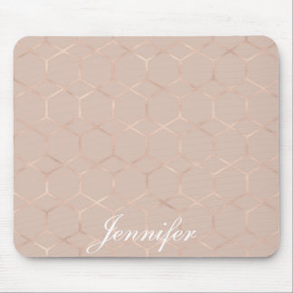 Modern chic Rose gold geometric hexagon your name Mouse Pad
