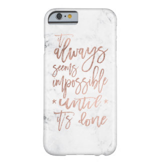Modern chic rose gold typography cool white marble barely there iPhone 6 case