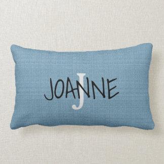 Modern Chic Rustic Blue Monogram name faux burlap Lumbar Pillow