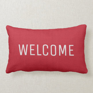 Modern chic rustic red faux burlap Welcome pillow