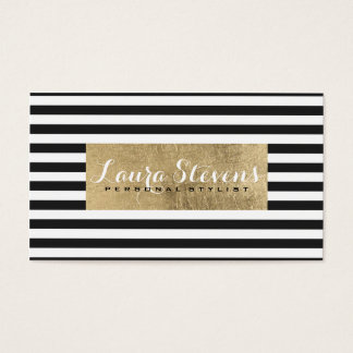 Modern chic simple black stripes faux gold leaf business card