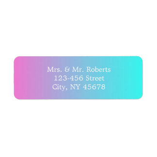 modern chic spring pink turquoise ombre wedding return address label