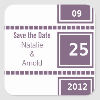 Modern Chic Squares Save the Date Stickers