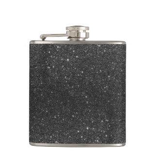Modern chic stylish trendy faux black glitter flask