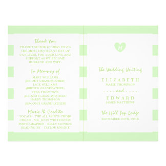 Modern Chic Tea Green Wedding Program