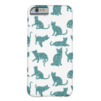 Modern & Chic Teal Sparkle Cats iPhone 6/6s Case