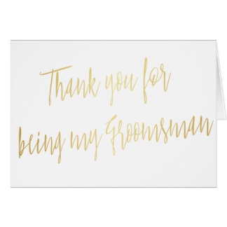 """Modern Chic """"Thank you for being my groomsman"""" Card"""