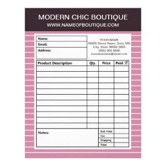 Modern Chic Thin Pink Stripes Boutique Order Forms Letterhead Design