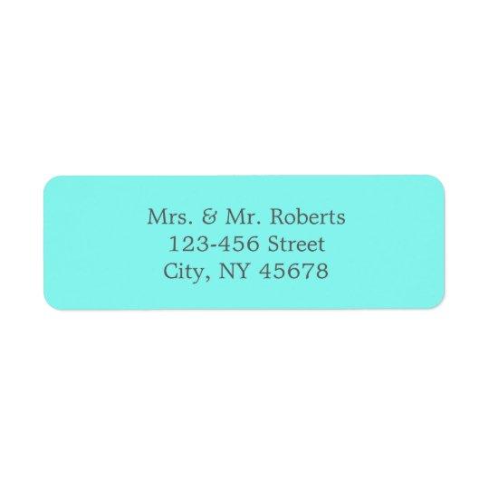modern chic trendy turquoise  tiffany blue wedding return address label