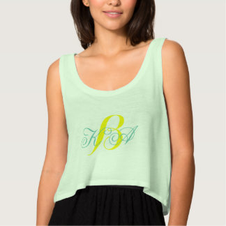modern chic turquoise yellow green ombre monograms flowy crop tank top