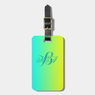 modern chic turquoise yellow green ombre monograms luggage tag