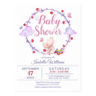 Modern Chic Unicorn Watercolor Girl Baby Shower Postcard