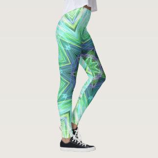 Modern Chic Vibrant Bright Teal Funky Pattern Leggings