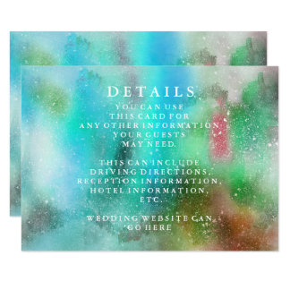 Modern Chic Watercolor Wedding Information Card