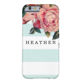 MODERN Chic Wide Stripes w Roses, Aqua Blue Barely There iPhone 6 Case