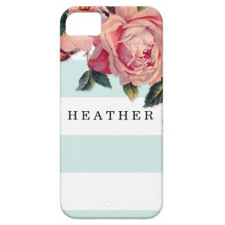 MODERN Chic Wide Stripes w Roses, Aqua Blue iPhone 5 Case