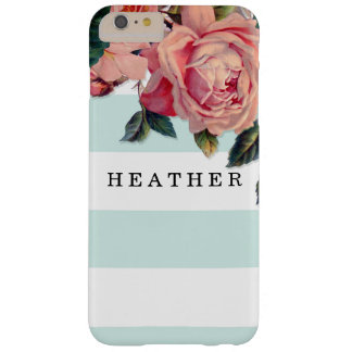 MODERN Chic Wide Stripes w Roses, Aqua Blue Barely There iPhone 6 Plus Case