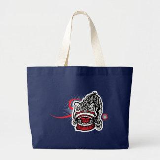Modern Chinese Lion Large Tote Bag