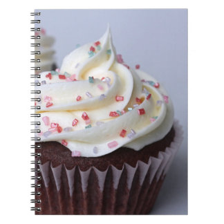 Modern Chocolate Cupcakes Sprinkle Frosting Spiral Notebook