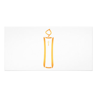 Modern Christian Candle Personalized Photo Card