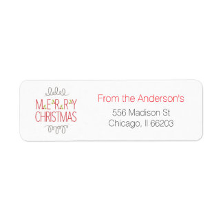 "Modern Christmas Address Label ""Merry Christmas"""