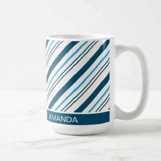 Modern Christmas Blue Candy Cane Coffee Mug