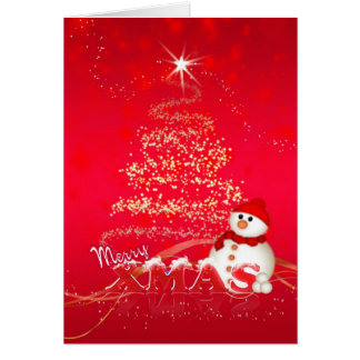 Modern Christmas Card With Snowman And Holiday Tre