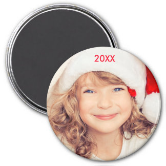 Modern Christmas Elegant Photo Year Magnet