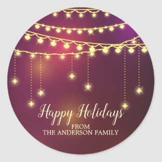 Modern Christmas Garland HolidaySticker Classic Round Sticker