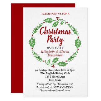 Modern Christmas Holiday Party Wreath Card