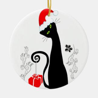 Modern Christmas Kitty Ceramic Ornament