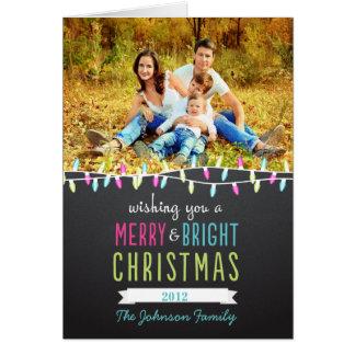 Modern Christmas Lights Folded Photo Holiday Card