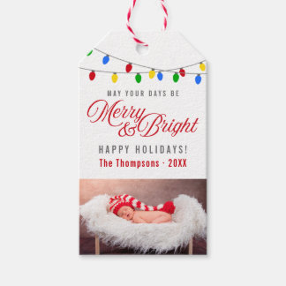 Modern Christmas Lights   Merry & Bright Photo Gift Tags