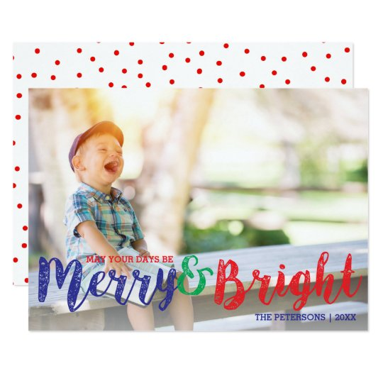 Modern Christmas Merry and Bright Holiday Photo Card