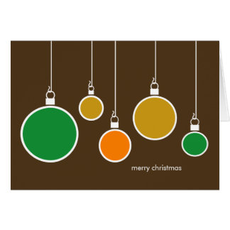 Modern Christmas Ornaments Card - Chocolate Brown