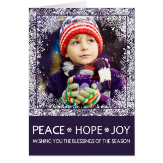 Modern Christmas Photo Card Peace, Hope, Joy