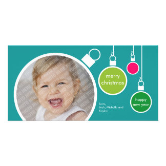Modern Christmas Photo Card- Turquoise Card