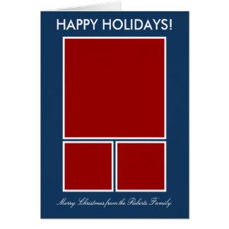 Modern Christmas photo greeting card template