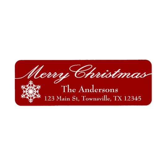 Modern Christmas Red and White Snowflakes Return Address Label